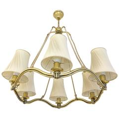 Large Brass Wave-Ring Chandelier Attributed to Hugo Gorge