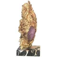 Gilt Metal and Amethyst Quartz Sculpture in Style of Jacques Duval Brasseur