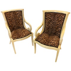 Pair of Enrique Garcel Off White Bone Arm Chairs, Signed