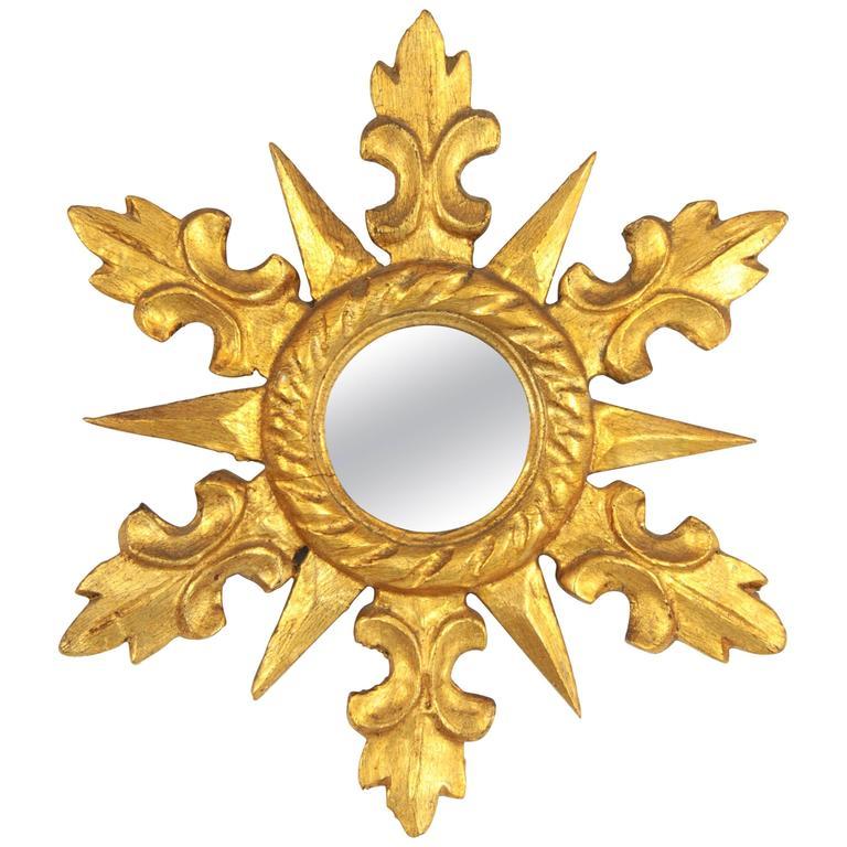 1950s Spanish Hollywood Regency Carved Giltwood Mini Sunburst Mirror