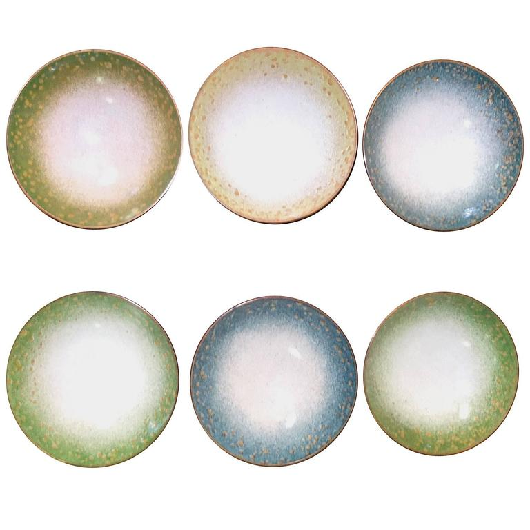Set of Six Italian Enameled Copper Pin Dishes For Sale