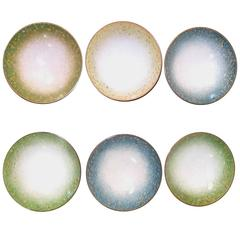 Set of Six Italian Enameled Copper Pin Dishes