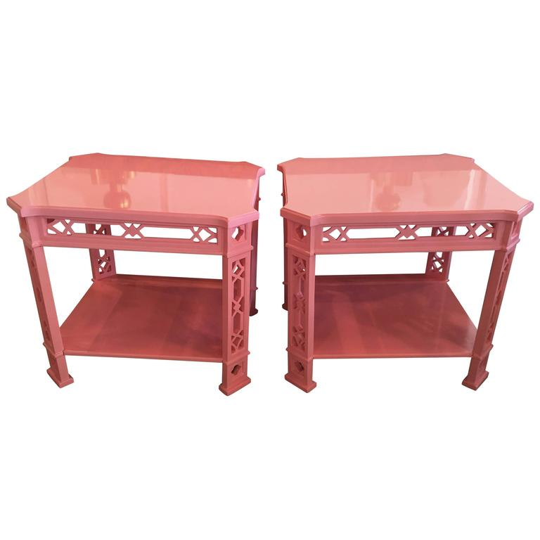 Pair of Coral Pink End Side Tables Lacquered Fretwork Fret Chinese Chippendale