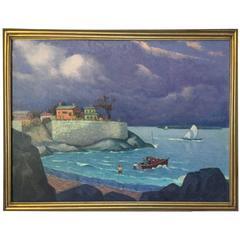 Formalist Seascape, circa 1930 Oil on Board Unsigned