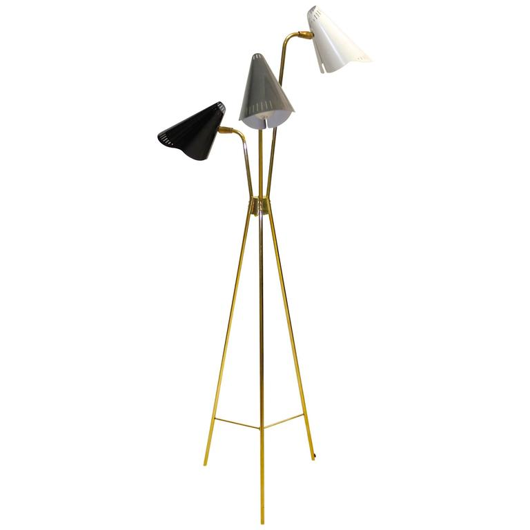 gerald thurston for lightolier brass tripod floor lamp 1