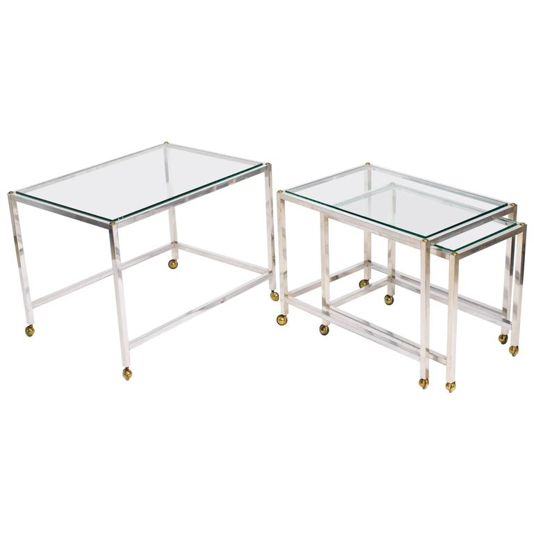 Set of chrome and glass top nesting tables at 1stdibs for Glass top nesting tables