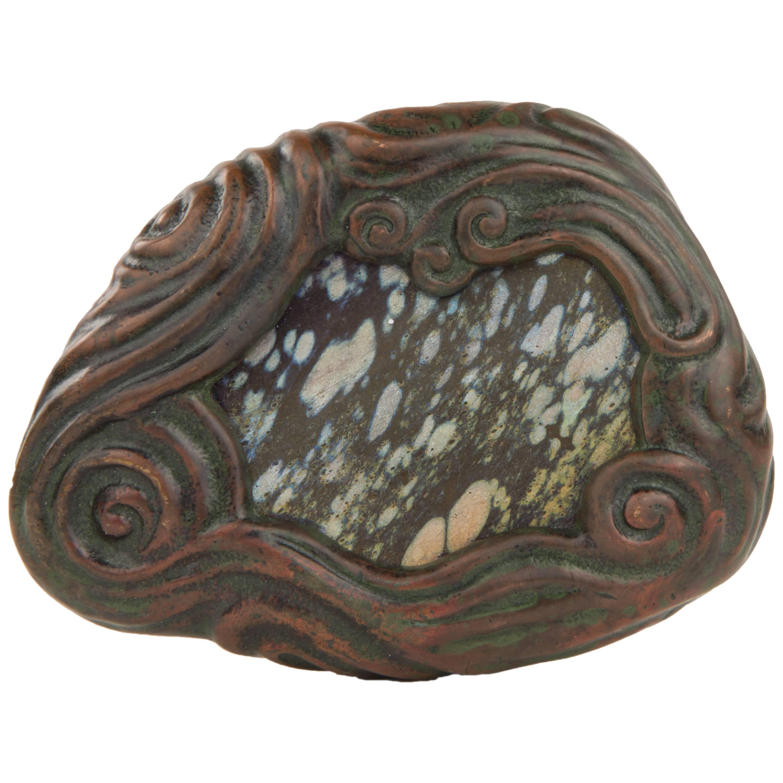 Art Nouveau Tiffany Studios Mosaic Bronze and Glass Paperweight
