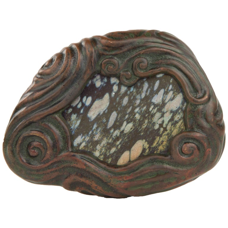 Art Nouveau Tiffany Studios Mosaic Bronze and Glass Paperweight For Sale