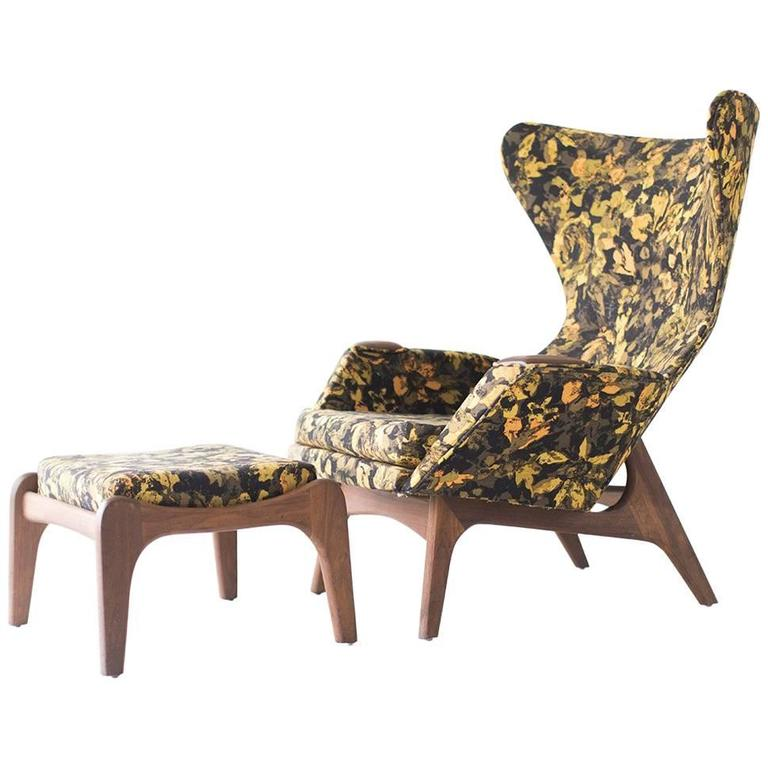 Adrian Pearsall Large Wing Chair and Ottoman for Craft Associates Inc.