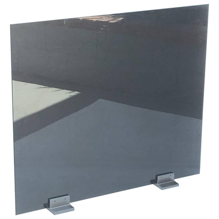 glass and stainless steel fireplace screen by pace