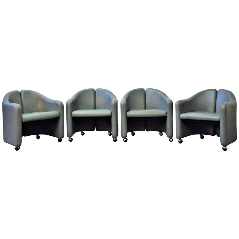 Set of Four Eugenio Gerli for Tecno Leather Chairs