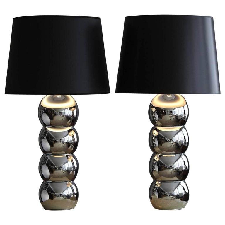 Charming Pair Of George Kovacs Stacked Chrome Ball Table Lamps 1