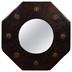 Spanish Late Baroque Walnut, Inlaid and Brass Mounted Octagonal Mirror