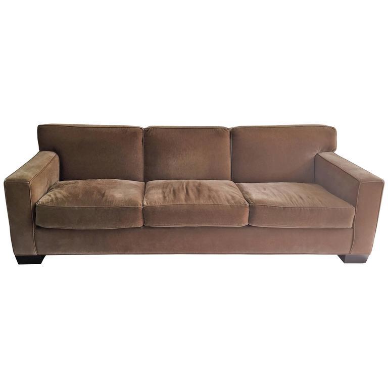 Art deco jean michael frank style mohair three seat sofa for Art deco style sofa
