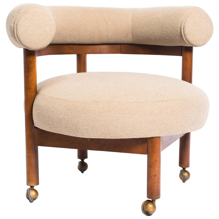 American Mid Century Modern Atomic Age Small Patio Round: Danish Modern Occasional Chair On Casters For Sale At 1stdibs