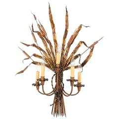 Huge Maison Bagues Five-Light Gilt Iron Reeds Tole Sconce, France 1950s