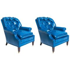 Pair of Distressed Blue Leather Lounge Chair with Ottoman