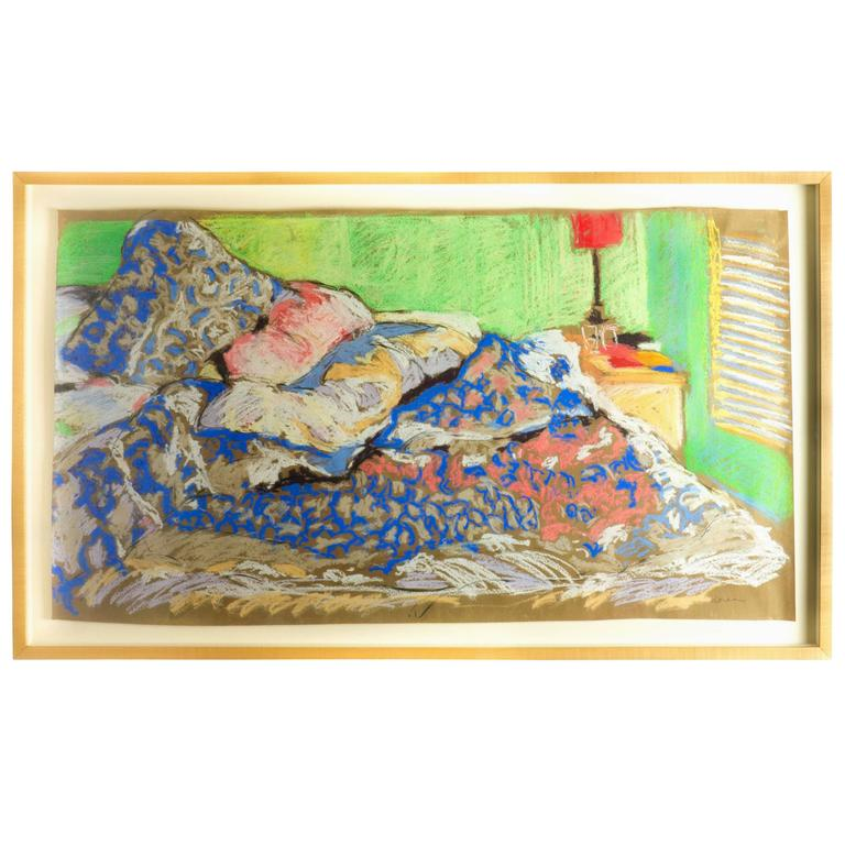 Donna Balsan Unmade Bed With Red Lamp Pastel One Of A