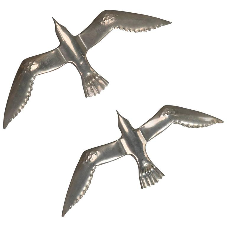 Pair of Mid-Century Aluminium Winged Gull Wall Lights or Sculptures For Sale