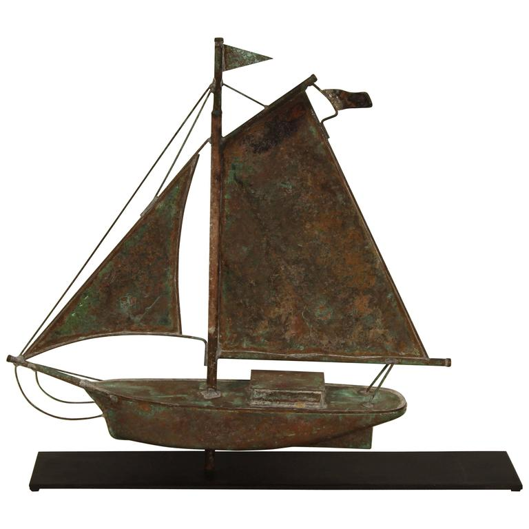 Vintage Wooden Weathervanes: Vintage Copper Ship Weather Vane At 1stdibs