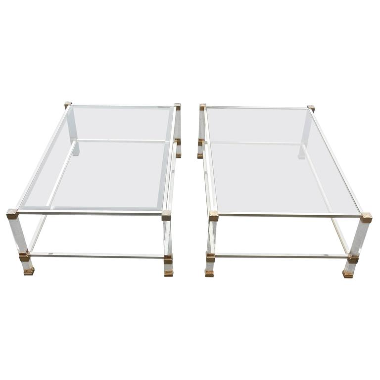 1970 1980 Pair Of Coffee Tables Lucite Pierre Vandel Paris For Sale At 1stdibs