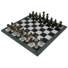 Modern Italian Black and White Marble and Brass Chess Game Set, Italy, 1970s