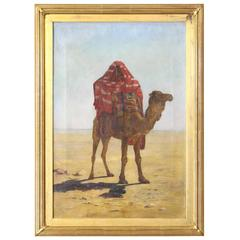 Late 19th Century Oil on Canvas Painting of a Bedouin on Camel