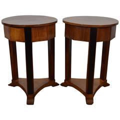 Pair of Italian Neoclassic Fruitwood and Ebonized Tables