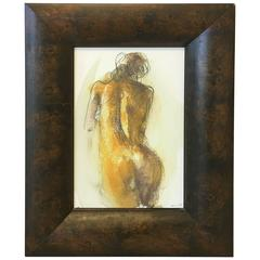 Modern Female Nude Painting with Large Burl Wood Frame