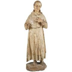 Italian Renaissance Wood Figure of a Monk