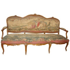 18th Century Louis XV Fruitwood Settee in Aubusson Upholstery