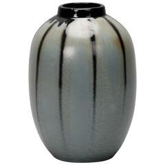 Thulin Belgium Blue Grey Drip Glaze Vase
