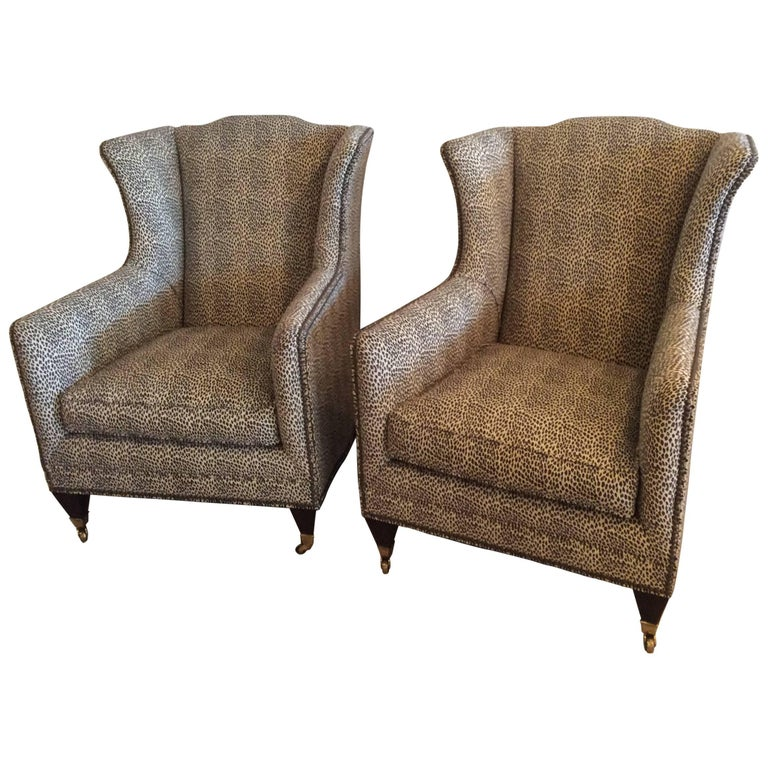 Pair Wingback Animal Print Chairs Nailhead Club Lounge Armchairs By Henredon For