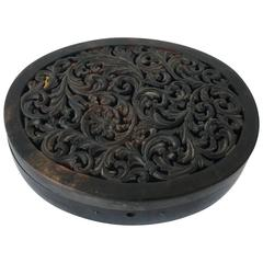 19th Century Tortoise Shell Decorative Box with Pierced Floral Motif