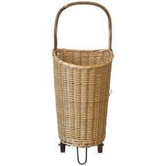 1960s English Market Cart Umbrella Stand with Wicker Basket and Bamboo Handle