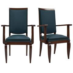 Pair of French Art Deco Armchairs by Dominique