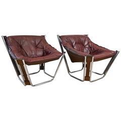 """Pair of Rare Odd Knutsen """"Sonic"""" Lounge Chairs for Hjellegjerde"""