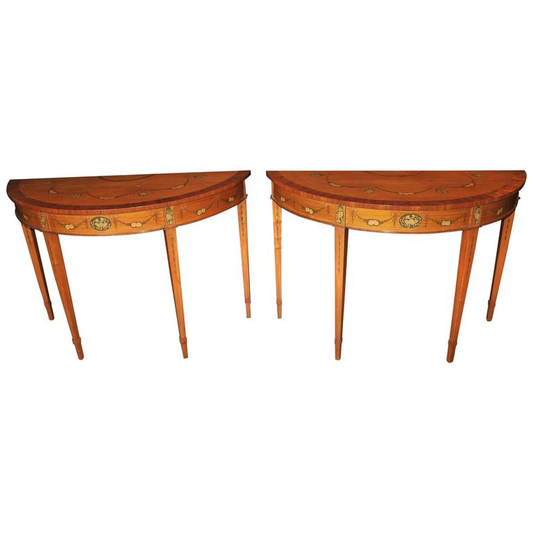 Pair of hepplewhite style demilune painted console tables satinwood at 1stdibs White demilune console table