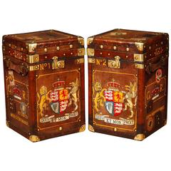 Pair of Leather Luggage Trunk Side Tables Coffee Table Box