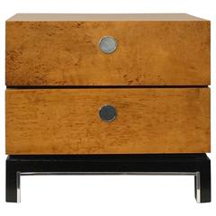 Burl Wood and Black Lacquer Chest or Nightstand