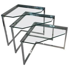 Stunning Set of Chrome and Glass Nesting Tables by Milo Baughman