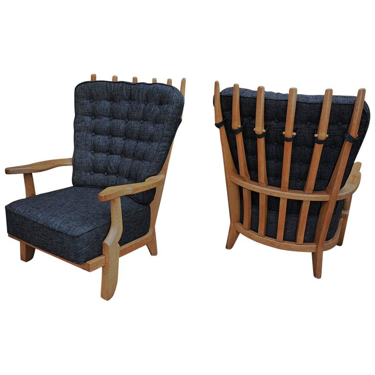 Pair of French Guillerme and Chambron High Back Lounge Chairs in Solid Oak