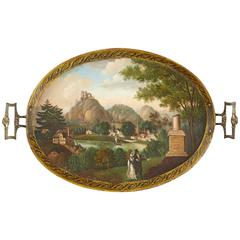 German Biedermeier Tole Peinte Tray with Romantic Landscape and Allegory of Love