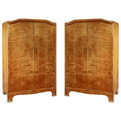 Pair of Viennese Birch Veneer Wardrobes