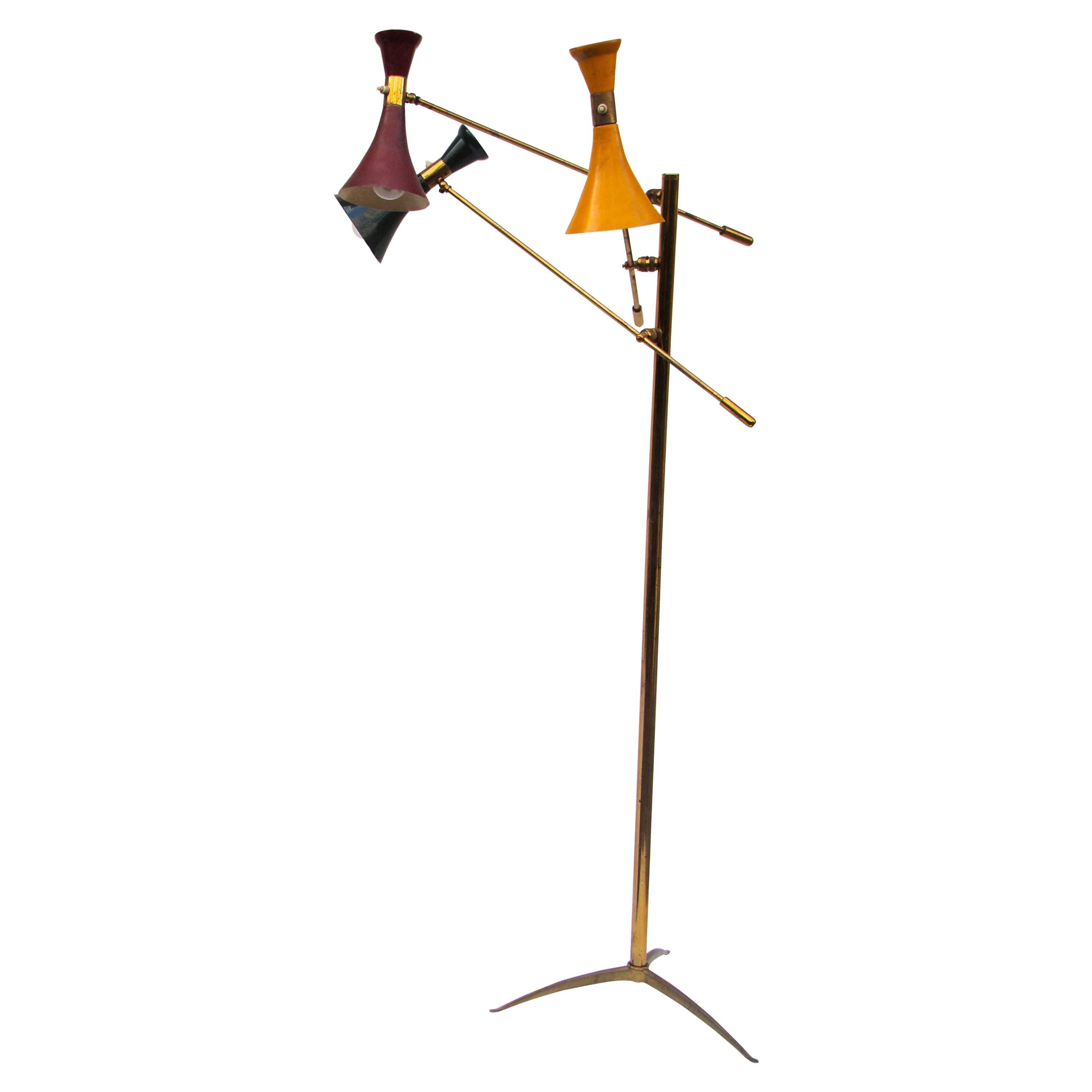 Manta Ray Black Metal Floor Lamp, France, 1950S For Sale