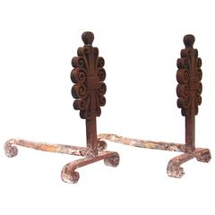 Wrought Iron Pair of Andirons by Edgar Brandt, France, circa 1925