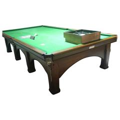An Arts and Crafts Oak Snooker Table by Riley in the Style of M H Baillie Scott