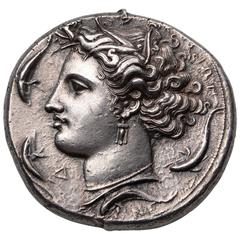 Ancient Greek Silver Decadrachm Coin by Euainetos of Syracuse, 400 Before Christ