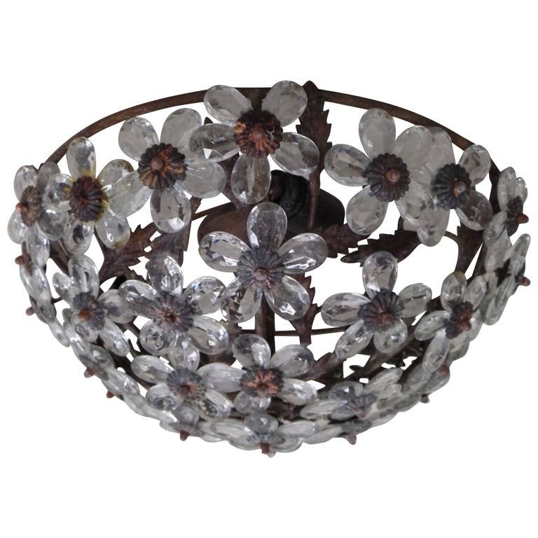 Italian Mid-Century Murano / Venetian Crystal / Glass Floral Flush Mount Fixture