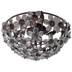 Italian Crystal Floral Flush Mount Fixture